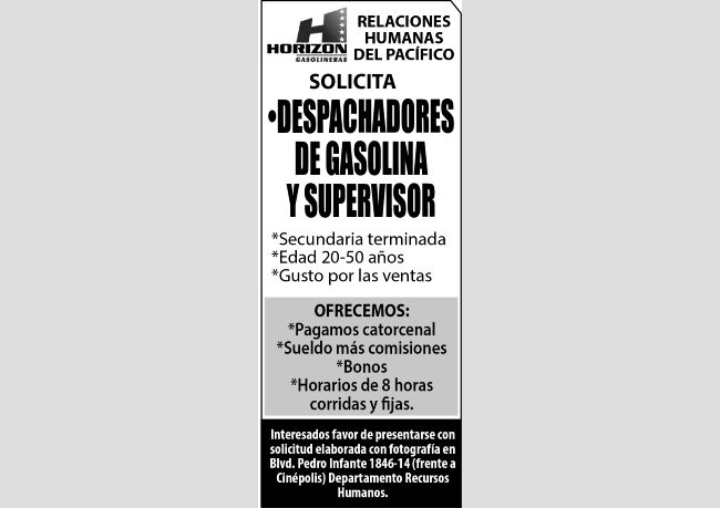 SOLICITAMOS SUPERVISOR Y DESPACHADOR DE GASOLINA